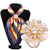 moda incrustaciones de diamante de la flor de ópalo bufanda hebilla