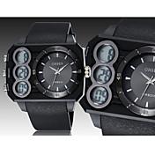 OHSEN 남성용 스포츠 시계 손목 시계 디지털 LED 달력 크로노그래프 방수 고무 밴드 블랙