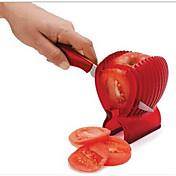 god kvalitet frukt grönsak fräsverktyg plast röd tomat hållare skivare guide potatis / lök hållare cutter