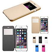 Para Funda iPhone 6 Funda iPhone 6 Plus Carcasa Funda con Ventana Flip Cuerpo Entero Funda Color sólido Dura Cuero Sintético paraiPhone