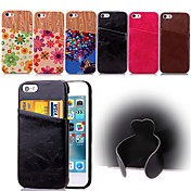 용 아이폰5케이스 카드 홀더 / 스탠드 케이스 뒷면 커버 케이스 단색 하드 인조 가죽 iPhone SE/5s/5