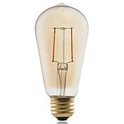 1개 GMY E26/E27 2W 2 COB ≥180 lm 따뜻한 화이트 ST58 edison 빈티지 LED필라멘트 전구 AC 220-240 V