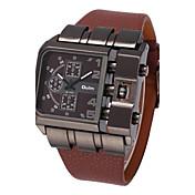 남성용 밀리터리 시계 손목 시계 석영 큰 다이얼 가죽 밴드 멋진 블랙 블루 레드 브라운