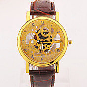남성용 손목 시계 석영 캐쥬얼 시계 가죽 밴드 블랙 브라운 그레이