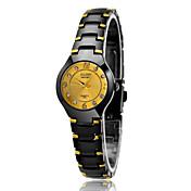 아가씨들 패션 시계 방수 캐쥬얼 시계 석영 스테인레스 스틸 밴드 럭셔리 블랙