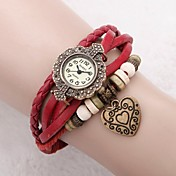 Women's Dress Watch Fashion Watch Bracelet Watch Japanese Quartz Leather Genuine Leather Band Vintage Heart shape Flower Bohemian Red Red Strap Watch