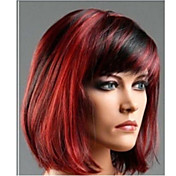 검은 색 혼합 빨간색 합성 고전 여성 직선 부드러운 내열성이 도매 가발 가발