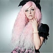 90cm 핑크 물 파도 코스프레 패션 클럽 밤 여성의 합성 가발 400g 긴 길이 애니메이션 의상 가발