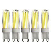 G9 LED Bi-pin 조명 T 4 COB 350 lm 따뜻한 화이트 차가운 화이트 밝기 조절 AC 220-240 V 5개