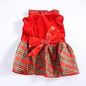 개 드레스 레드 강아지 의류 겨울 / 모든계절/가을 격자 무늬 / 체크 패션 / 크리스마스