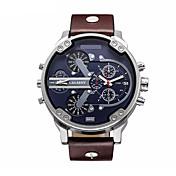 CAGARNY 남성 밀리터리 시계 패션 시계 손목 시계 달력 캐쥬얼 시계 석영 가죽 밴드 럭셔리 블랙 브라운