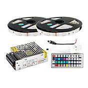 z®zdm 2 × 5m 150x5050 SMD RGB 스트립 빛과 44key 원격 컨트롤러를 주도 (AC110-240V)
