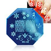 1PCS 크리스마스 스타일의 스테인레스 스틸 네일 플레이트 새로운 시리즈 네일 아트 스탬프