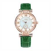 SINOBI Mujer Reloj de Moda Simulado Diamante Reloj Cuarzo Resistente al Agua Piel Banda Verde Verde