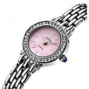 Mujer Simulado Diamante Reloj Reloj de Pulsera Reloj Pulsera Cuarzo Cuero Auténtico Banda Destello Encanto Blanco Blanco Azul Rosa