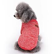 고양이 개 코트 티셔츠 강아지 의류 겨울 모든계절/가을 솔리드 귀여운 패션 스포츠 레드 그린 블루 핑크 밝은 블루
