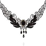Mujer Gargantillas Forma Oval Forma de Corona Tela de Encaje Moda Turco Clásico Negro Joyas ParaBoda Fiesta Ocasión especial Cumpleaños