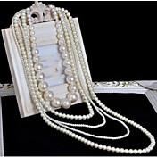 여성용 계층화 된 목걸이 진주 목걸이 Cross Shape 펄 멀티 레이어 긴 길이 신부 의상 보석 보석류 제품 결혼식 파티 특별한 때 생일