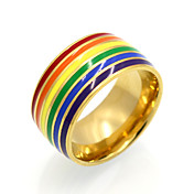 2017 New Colourful Fashion Rainbow  Personality Brand Design Titanium Steel Rings For Women