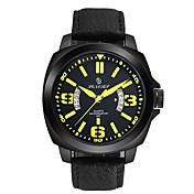 Hombre Reloj Deportivo Reloj de Moda Chino Cuarzo Calendario Noctilucente Cuero Auténtico Banda Negro