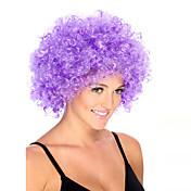 Pelucas sintéticas Sin Tapa Medio Rizado Morado Peluca afroamericana Para mujeres de color Peluca de cosplay Las pelucas del traje
