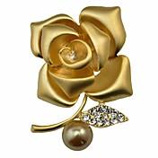 Mujer Broche Diamante Perla artificial Moda Personalizado Clásico Legierung Forma de Flor Joyas Para Fiesta Fiesta de Noche Escenario