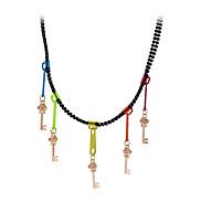 lureme®colorful Schädel Anhänger Halskette schwarze Reißverschluss