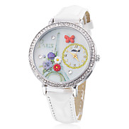 Women's Flower Style PU Analog Quartz Wrist Watch (White)