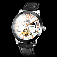 Men's Black Case PU Analog Mechanical Wrist Watch (Assorted Colors)