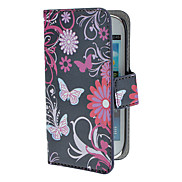Butterflies and Circles Pattern PU Leather Case with Magnetic Snap and Card Slot for Samsung Galaxy S3 mini I8190