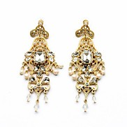 Luxury Hollow out Flower Gold Plated Pearl Drop Earrings (1 Pair)