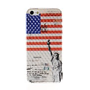 USA Flag Pattern Diamond Effect Surface Plastic Hard Case for iPhone 5/5S