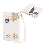 Elonbo Diamond Grain Shining Crown and Flower Style Leather Wallet Full Body Case for Iphone4/5/5C