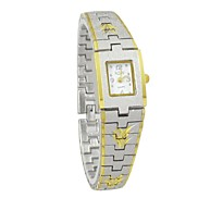 Lady'  Gold and Silver Retangle Dial Metal Band Quartz Wrist Watches