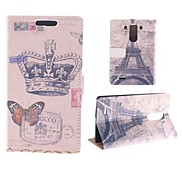 Crown Butterfly Pattern with The Eiffel Tower PU Full Body Case with Card Slot for LG G3