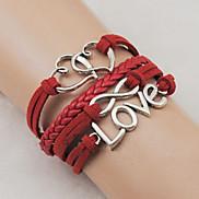 Vintage Infinity 20cm Unisex Red Leather Wrap Bracelet(1 Pc)