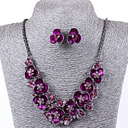 High Class Flower Shape Oildrip Diamanted  Alloy (Necklaces&Earrings&) Gemstone Jewelry Sets(More Color)