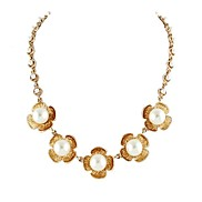 2014 Gold Color Flower White Big Created Pearl Women Wedding Necklace