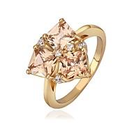 Fashion Jewelry Rhombus Inlaid Zircon Gold Plate  Women's Ring (1 Pcs)