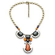 Exquisite Orange Rhinestone Pendant Copper Plated Necklaces (1 Pc)