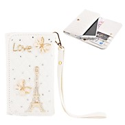 Elonbo Beautiful Butterflies and The Eiffel Tower Style Leather Wallet Full Body Case for Iphone4/5/5C