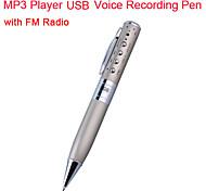 MP3 de 2GB USB de grabación de voz pluma con radio FM