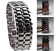 Black Metal Strip Digital Lava Style Iron Sport Womens Red LED Faceless Wrist Watch Cool Watches Unique Watches Fashion Watch