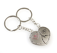 Heart Clock Shaped Metal Keychain, Pair