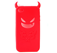 Devil Protective Silica Gel Case for iPhone4 - Red