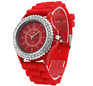 Fashionable Quartz Wrist Watch with Red Silicone Band