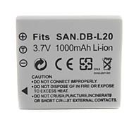 1000mah 3.7v batería de la cámara digital de DB-L20 para Sanyo Xacti DMX-C6, DSC-c5
