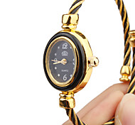 Women's Quartz Analog Black & Gold Wire Steel Band Bracelet Watch
