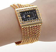 Women's PC Movement Golden Band Black Dial Bracelet Watch with Czechic Diamond Decoration