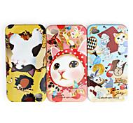 caso padrão bonito gato de proteção para iphone 4 / 4s (pacote com 3 unid)